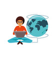 man sitting with laptop and planet earth vector image vector image