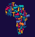 Map of Africa with african symbols silhouette vector image