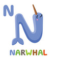 n is for narwhal letter n narwhal cute animal vector image vector image
