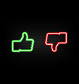 neon like and dislike icons on background brick vector image vector image