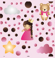 pattern with cartoon cute toy baby girl and bear vector image vector image
