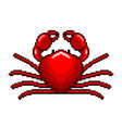 pixel art red crab detailed isolated vector image vector image