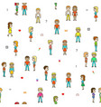 pixel people a lot people on a white field vector image