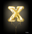 roman 10 number gold foil balloon x form