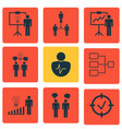 set 9 administration icons includes personal vector image vector image
