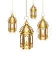 set arabic golden lamps with light for islamic vector image