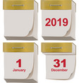 set new and old tear-off calendar 2019 year vector image