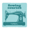sewing grunge label vintage machine vector image
