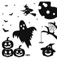silhouettes of pumpkin with face bats spiders vector image