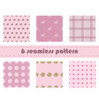 six pink seamless pattern background vector image