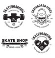 skateboarding labels badges set skate shop vector image