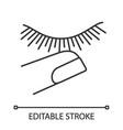 Stop touching eyelashes linear icon