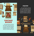 vintage poetry books posters for bookshop or vector image vector image