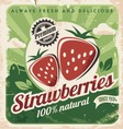 Vintage poster template for strawberry farm vector image vector image