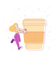 woman holding plastic coffee cup with beverage on vector image vector image