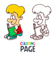 young boy reading book cartoon coloring page vector image
