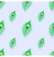 Seamless pattern with peacock feather on blue vector image
