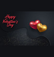 3d metallic gold and red hearts on a dark vector image vector image