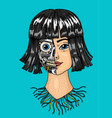 artificial intelligence concept a woman with half vector image vector image