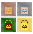 Assembly flat shading style icons halloween bag