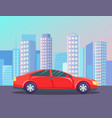automobile going road in city buildings vector image
