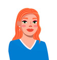 avatar young red-haired smiling woman vector image vector image