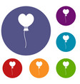 balloon in the shape of heart icons set vector image vector image