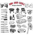 bbq and grill design elements for logo label vector image vector image