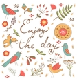 Beautiful enjoy the day concept floral card with vector image vector image