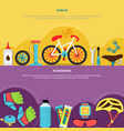 bicycle banners set vector image vector image