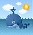 Blue whale character is swimming in ocean
