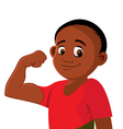 boy strong flexing vector image vector image