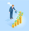 business man with pot watering money tree vector image vector image