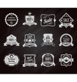 Chalkboard sales labels icons collection vector image vector image