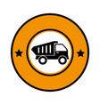 circular emblem with dump truck vector image vector image