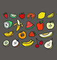 color summer fruits doodle set elements isolated vector image