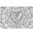 coloring book art with heart on beautiful pattern vector image