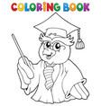 coloring book owl teacher theme 3 vector image vector image