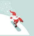 cute gnome snowboarding vector image vector image