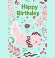 cute summer kawaii axolotl baamphibian drawing vector image vector image