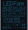 digital alphabet and numbers set blue led font vector image vector image