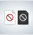 document file icon with forbid sign flat sign for vector image vector image