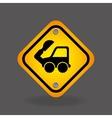excavator truck yellow road street sign vector image vector image