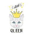 fashion print cat face with crown little vector image vector image