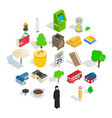 financial district icons set isometric style vector image vector image