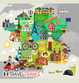 france landmarks and travel map france travel vector image vector image