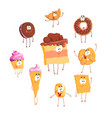 funny sweets standing and smiling set for label vector image vector image