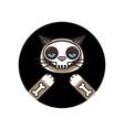 grumpy cat in skeleton costume sticker halloween vector image