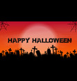 halloween banner with graveyard silhouette vector image vector image