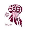 Hand drawn tattoo stylized jellyfish Marine life vector image